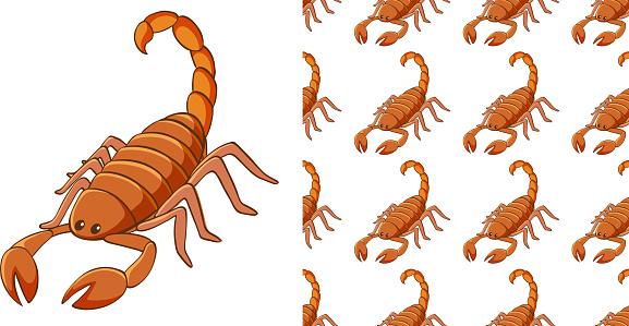 Seamless background design with scorpion