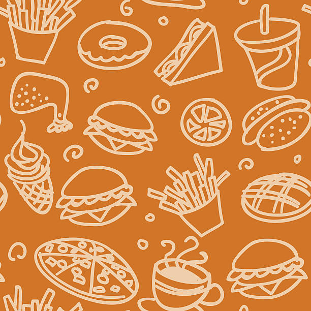 бесшовный фон-fastfood - burger and chicken stock illustrations