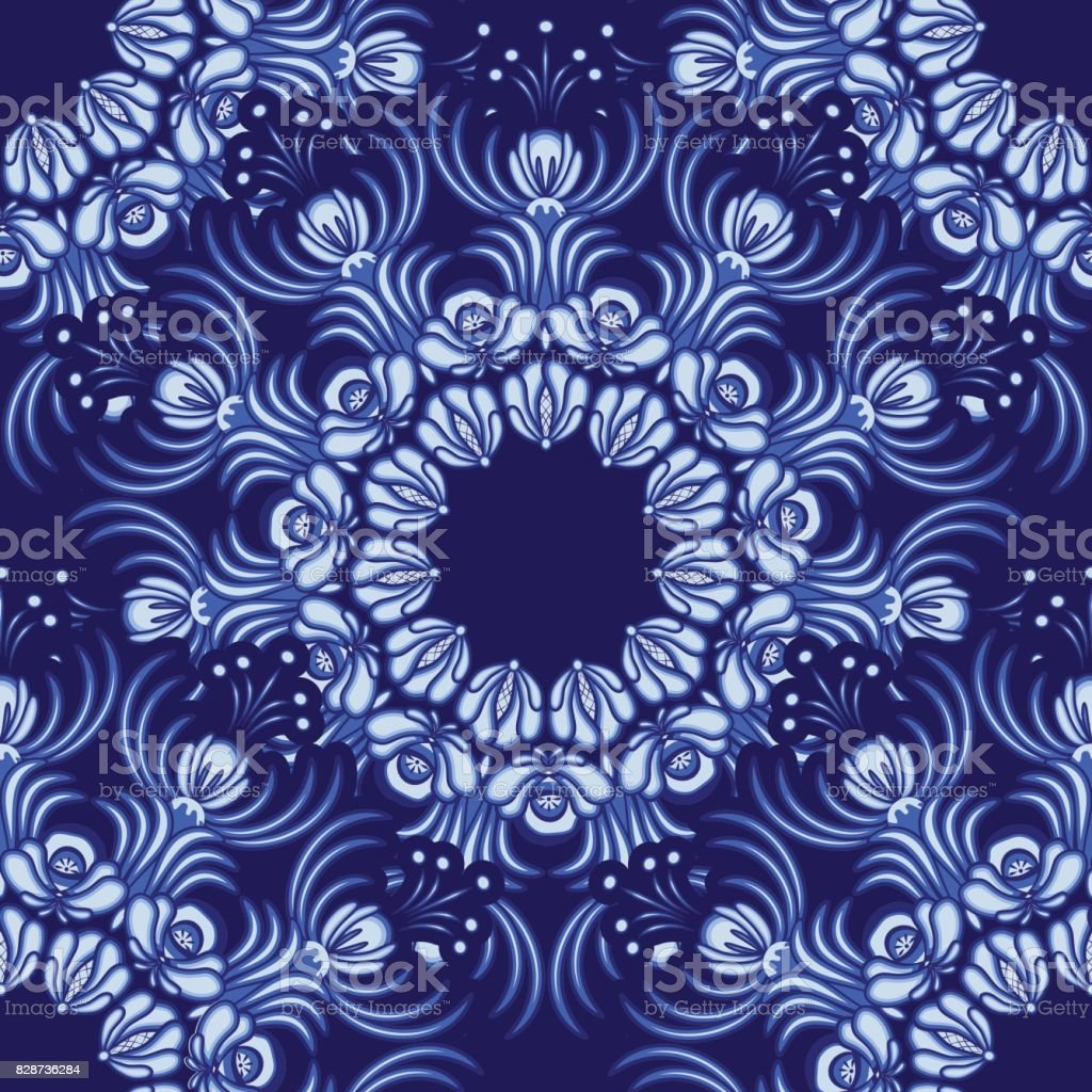Seamless background. Floral pattern of circular ornaments. Imitation of chinese porcelain painting. Flowers in the style of Chinese painting on porcelain. vector art illustration