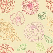 Various Flowers in seamless pattern. High resolution jpg file included.