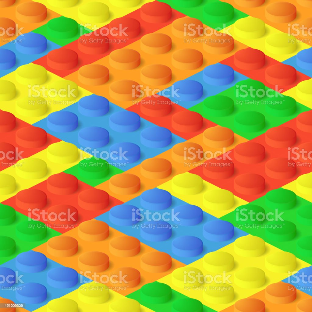 Seamless background from plastic colourful brick blocks royalty-free stock vector art