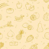 Various fruit and vegetable in seamless pattern.