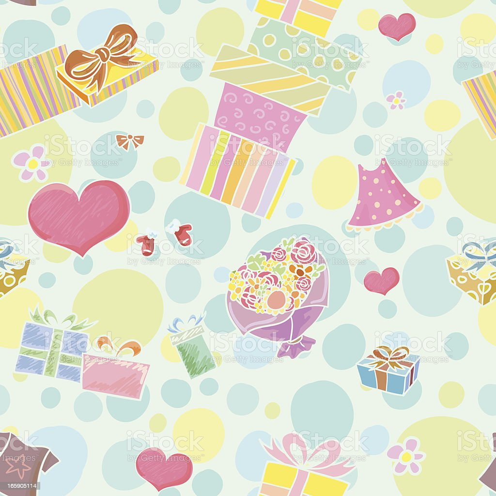Seamless background - Gifts vector art illustration