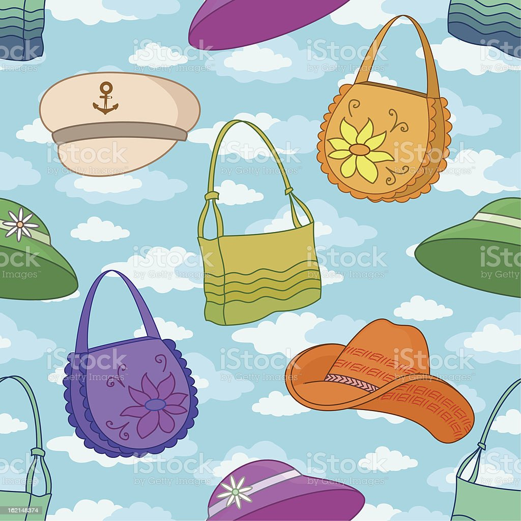 Seamless background, handbags and hats royalty-free stock vector art