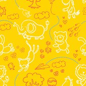 Happy cartoon animals in seamless pattern. High resolution jpg file included.