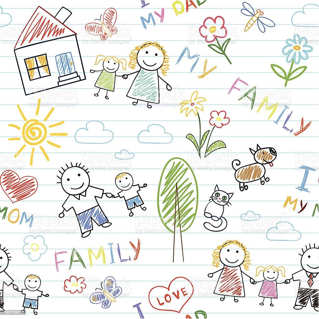 Seamless background - happy family vector art illustration