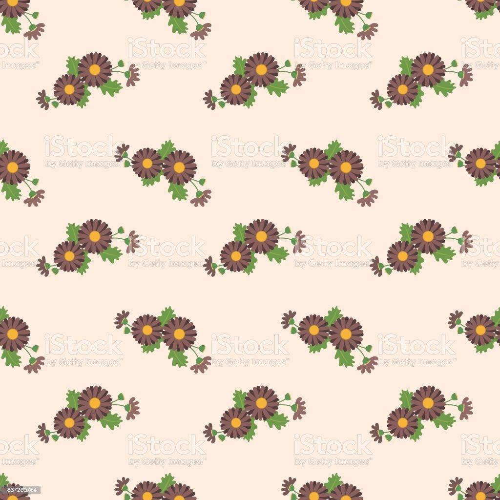 Seamless background image colorful botanic flower leaf plant brown daisy vector art illustration