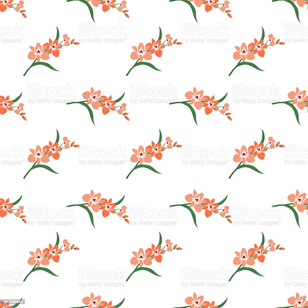 Seamless background image colorful botanic flower leaf plant orange orchid vector art illustration