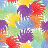 Seamless background in cheerful summer rainbow pastel colors, uneven distributed abstract shapes