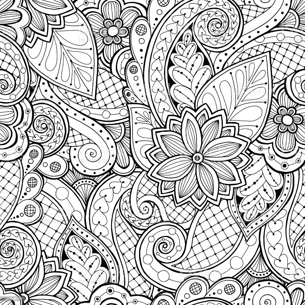 Seamless background in vector with doodles, flowers and paisley. vector art illustration