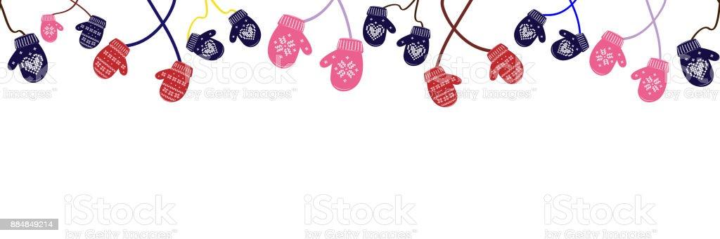 Seamless background knitted christmas mittens on white background. Vector illustration. vector art illustration