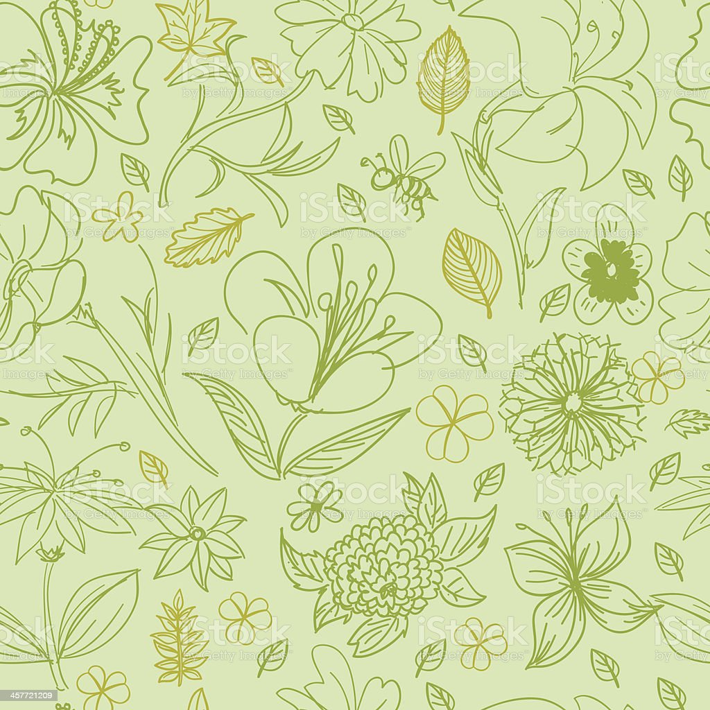 Seamless background - Leaf and flowers vector art illustration