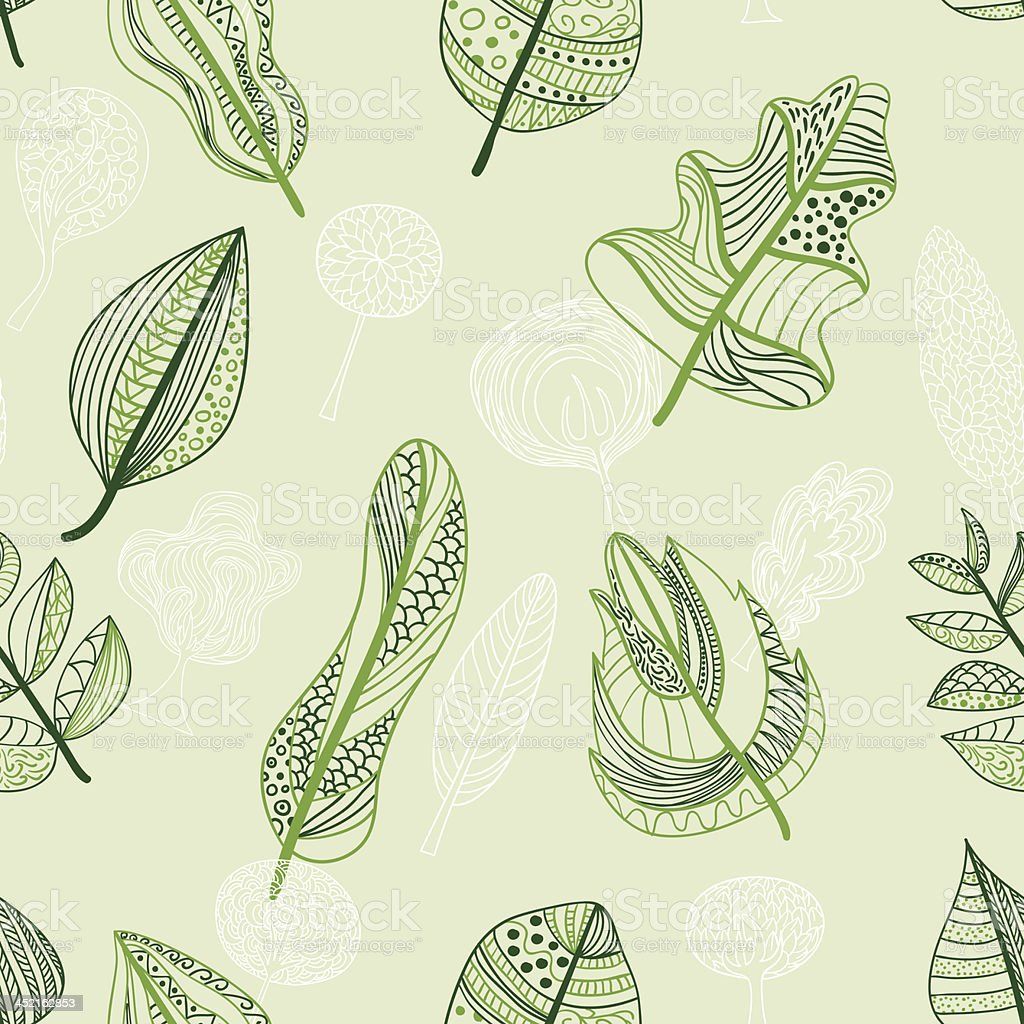 Seamless background -Leaf royalty-free stock vector art