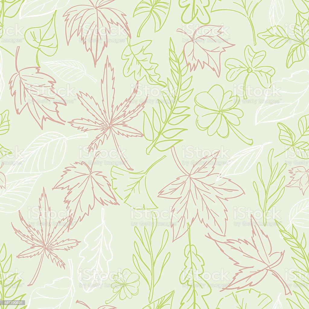 Seamless background - Leaves and botanic vector art illustration