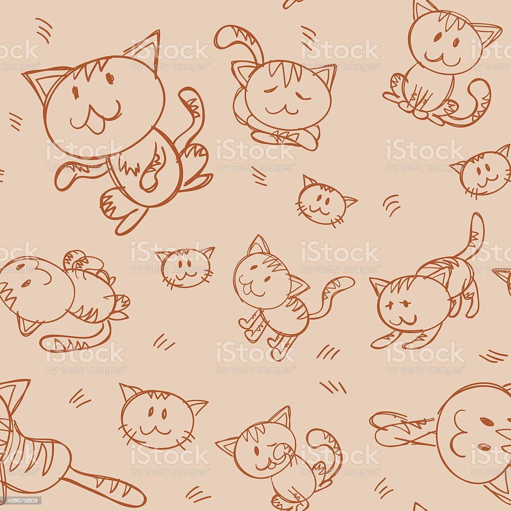 Seamless background - Lovely cat royalty-free stock vector art