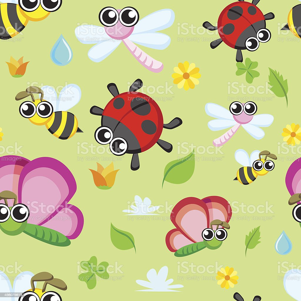 Seamless background - Lovely Insects royalty-free stock vector art
