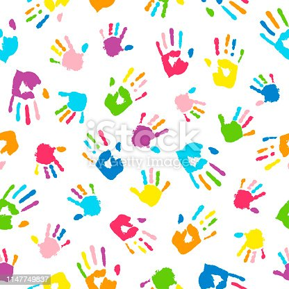 Seamless background made from colorful handprints. Palms and fingers colored in rainbow colors.  Multicolor pattern for your design.