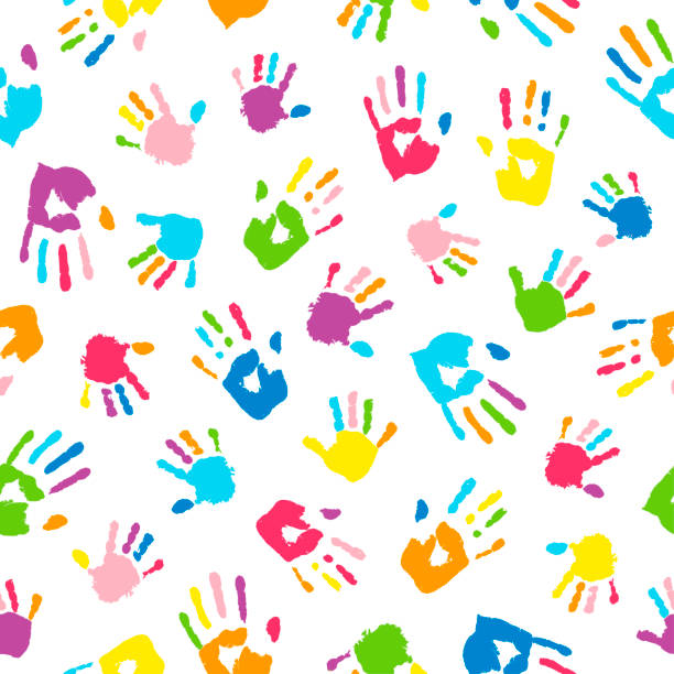 seamless background made from colorful handprints. palms and fingers colored in rainbow colors.  multicolor pattern for your design. - art and craft stock illustrations