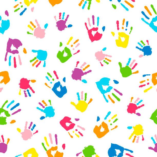 다채로운 손으로 만든 완벽 한 배경. 손바닥과 손가락이 무지개 색으로 채색 되어 있습니다.  디자인을 위한 멀티 컬러 패턴. - 예술 공예품 stock illustrations