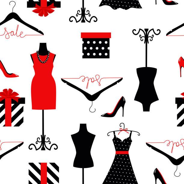nahtloser hintergrund eines kleides auf einer schaufensterpuppe, schuhe und geschenkverpackung - stoffmarkt stock-grafiken, -clipart, -cartoons und -symbole