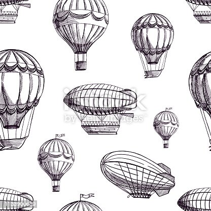 beautiful retro seamless background of airships flying to cloudy sky