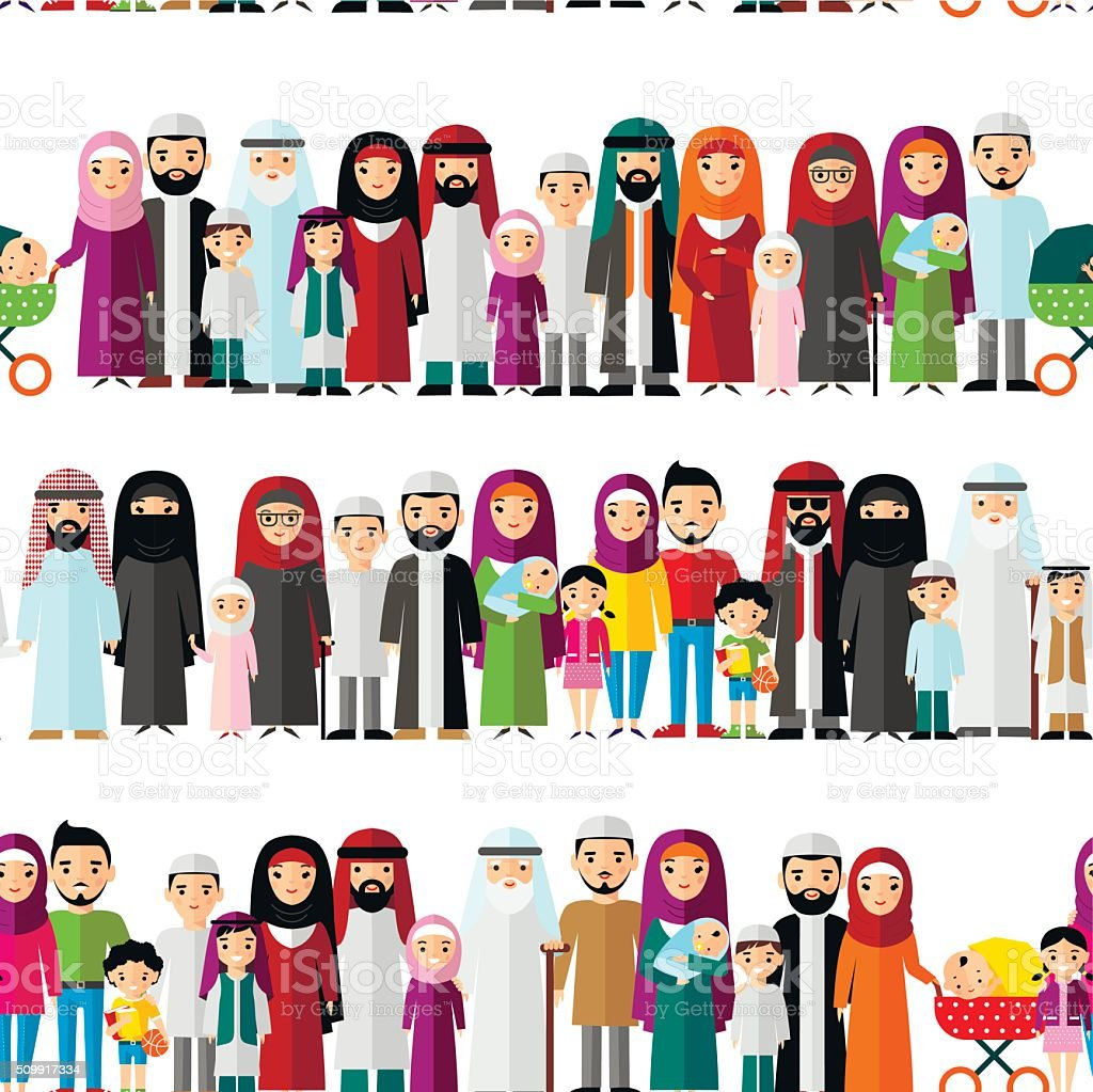 Seamless background of arab families. vector art illustration