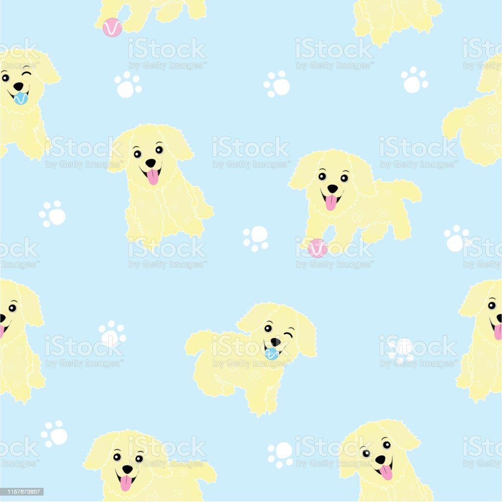 Seamless Background Of Baby Shower Illustration With Cute Puppies On Blue Background Suitable For Wallpaper Stock Illustration Download Image Now Istock