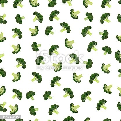 istock Seamless background of broccoli. Fresh organic and healthy, diet and vegetarian food. Vector illustrations isolated on white background. 1297428959