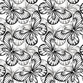 Beautiful seamless background of butterflies black and white colors. Hand-drawn contour lines and strokes. Perfect for background greeting cards and invitations of the wedding, birthday