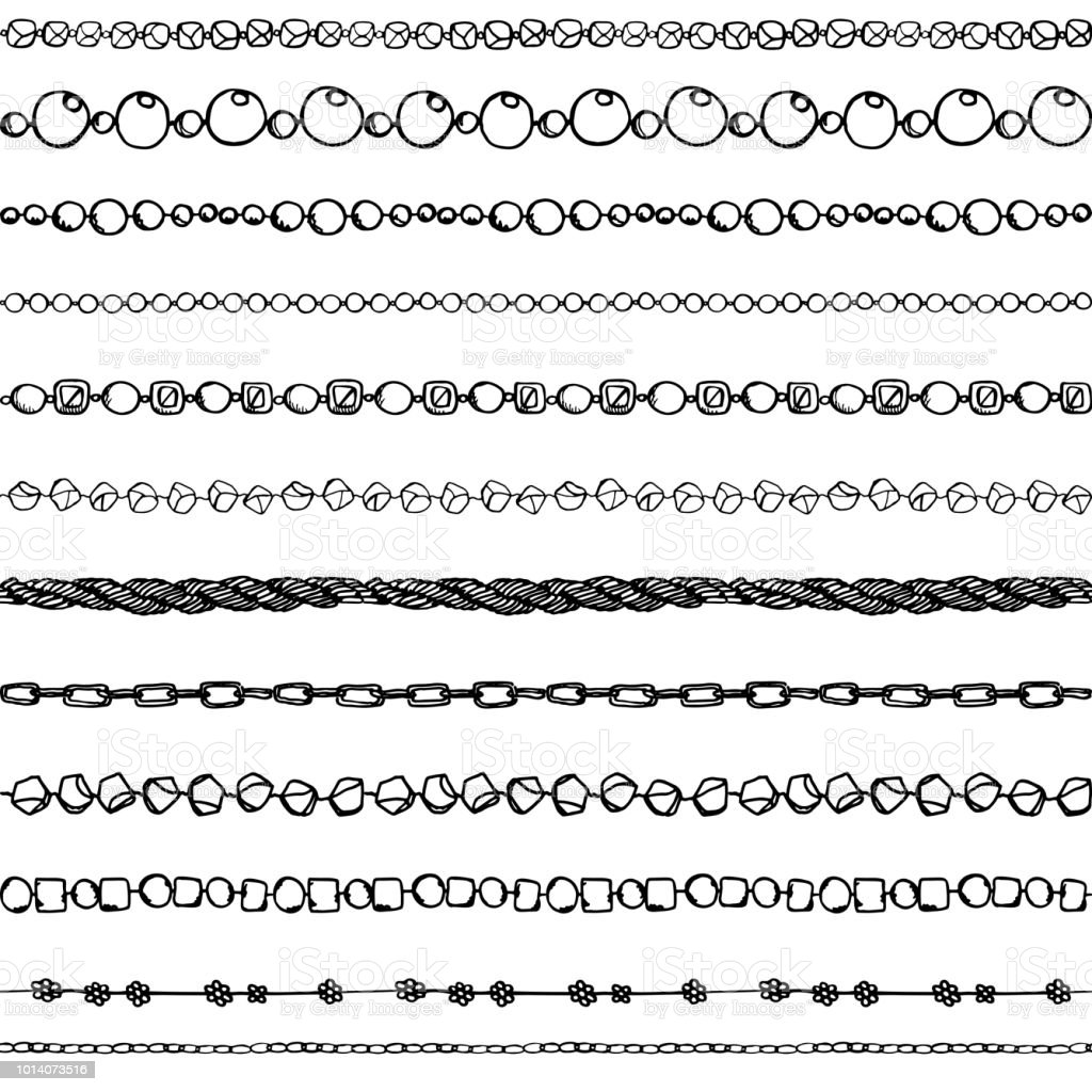 Seamless background of chains and pearls vector art illustration