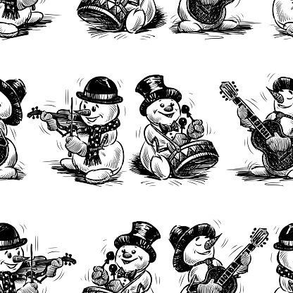 Seamless background of cheerful musicians snowmen