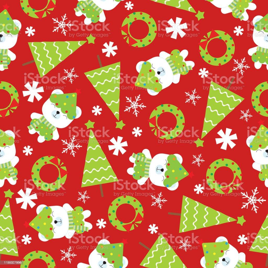 子供のクリスマスの壁紙に適した赤の背景にかわいい赤ちゃんのクマクリスマスツリーやクリスマスの花輪と一緒にクリスマスのイラストのシームレスな背景 お祝いのベクターアート素材や画像を多数ご用意 Istock