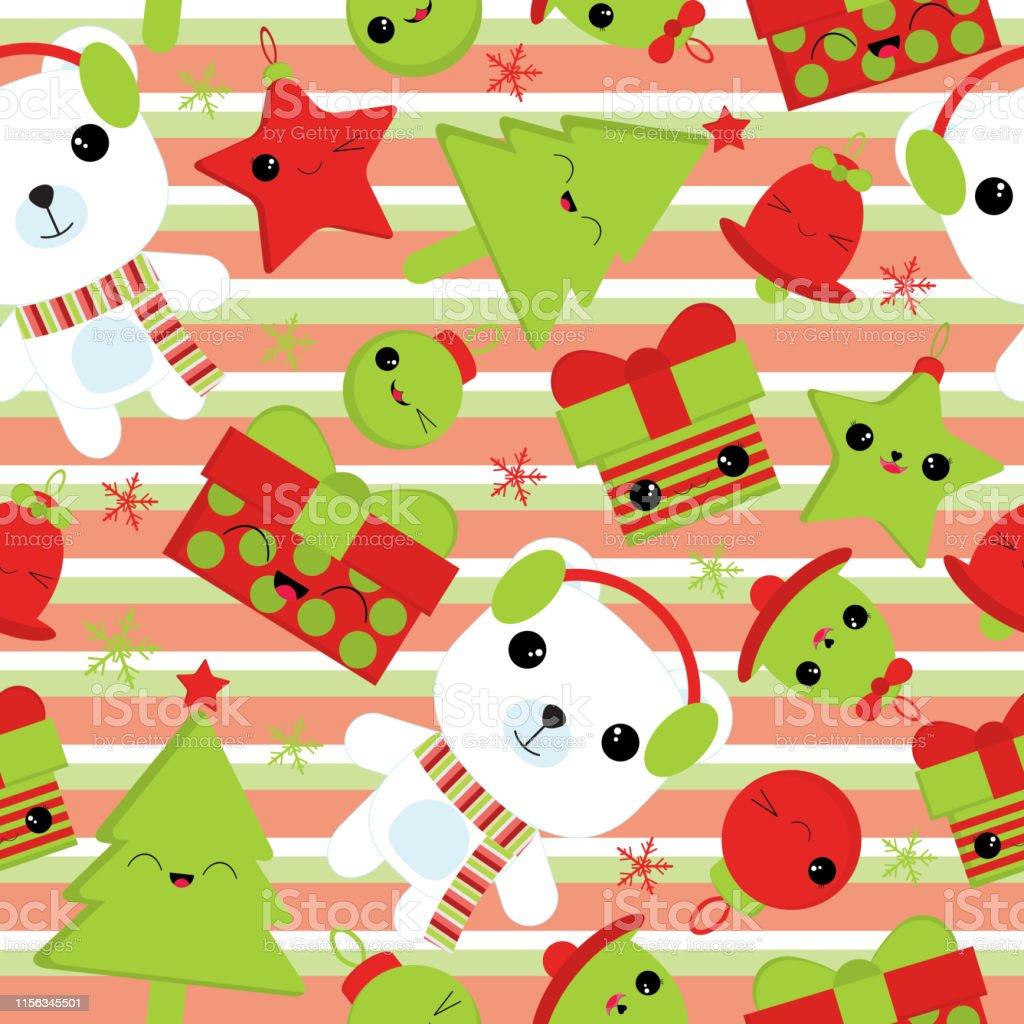 かわいいクマベルギフト星および子供のクリスマスの壁紙に適したストライプの背景にクリスマスの木とクリスマスのイラストのシームレスな背景 お祝いのベクターアート素材や画像を多数ご用意 Istock