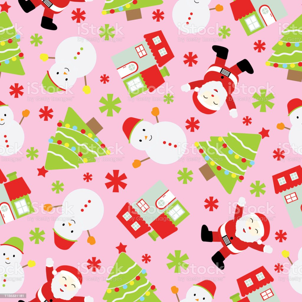seamless background of christmas illustration with cute santa claus vector id1155331181