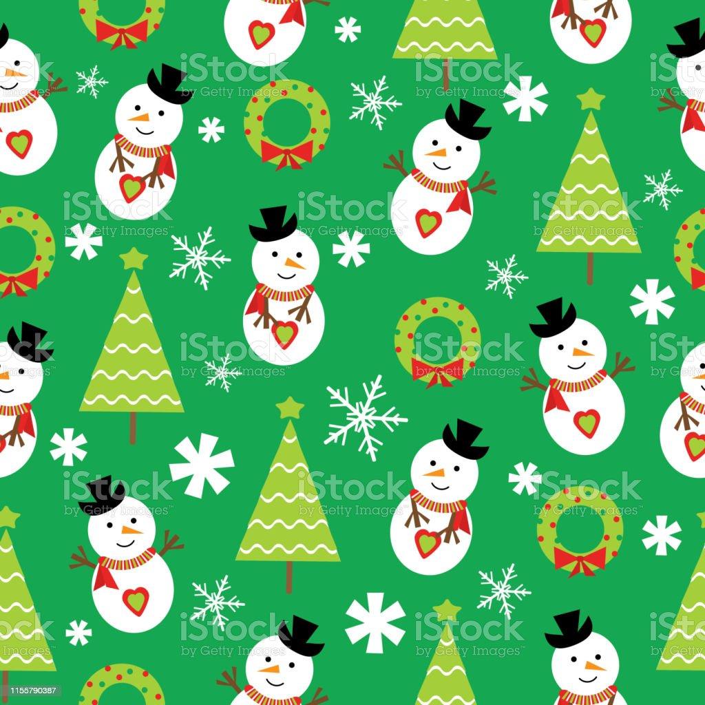 壁紙に適した緑の背景にかわいい雪だるまとクリスマスツリーとクリスマスのイラストのシームレスな背景 お祝いのベクターアート素材や画像を多数ご用意 Istock
