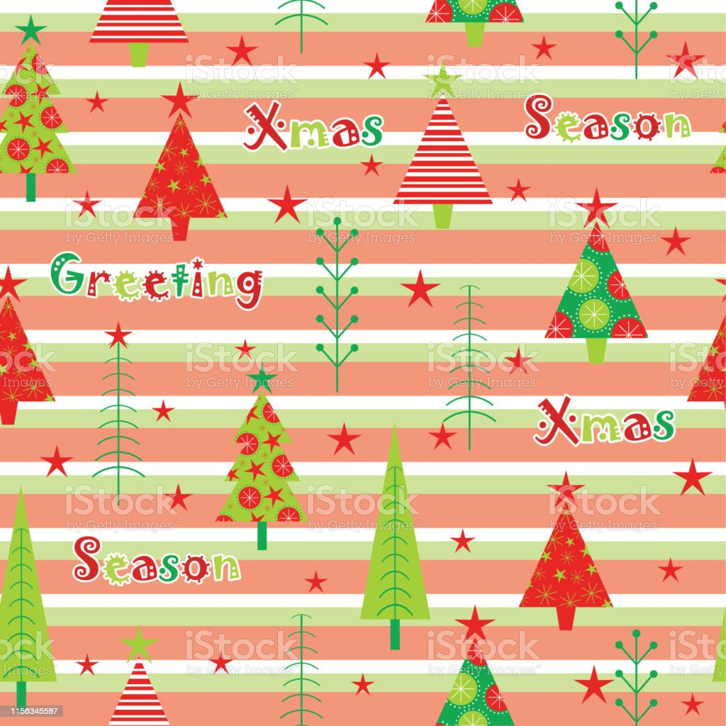 Seamless Background Of Christmas Illustration With Red And Green