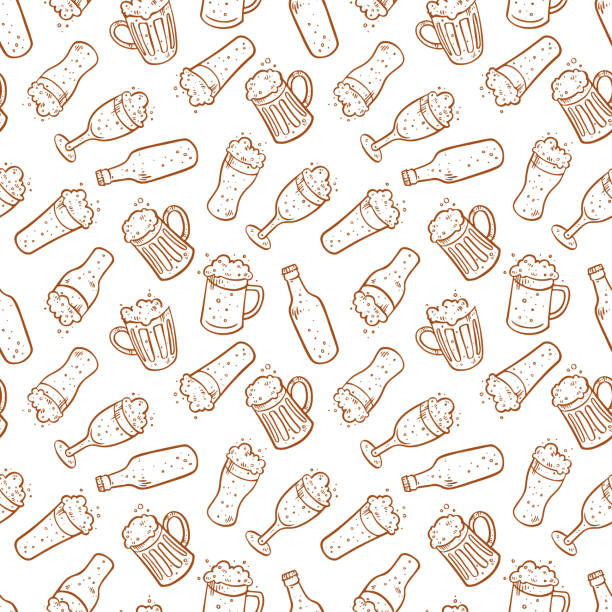 Seamless background of different beer Seamless background of different beer. Hand drawn illustrations alcohol drink patterns stock illustrations