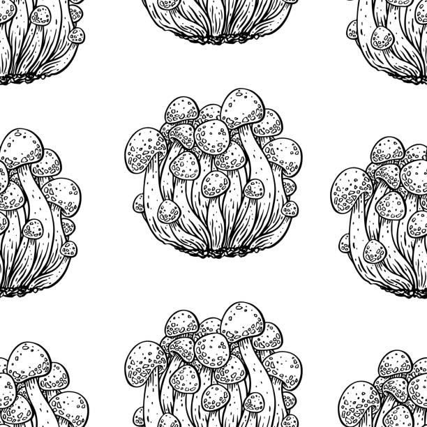エノキタケのシームレス背景 - しめじ点のイラスト素材/クリップアート素材/マンガ素材/アイコン素材