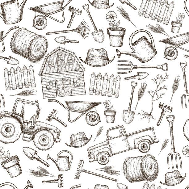 stockillustraties, clipart, cartoons en iconen met naadloze achtergrond van de landbouw - kruiwagen met gereedschap