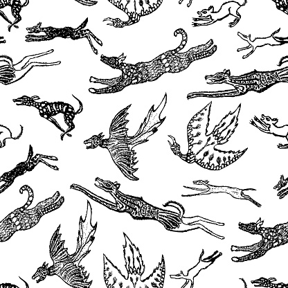 Seamless background of fictional animals