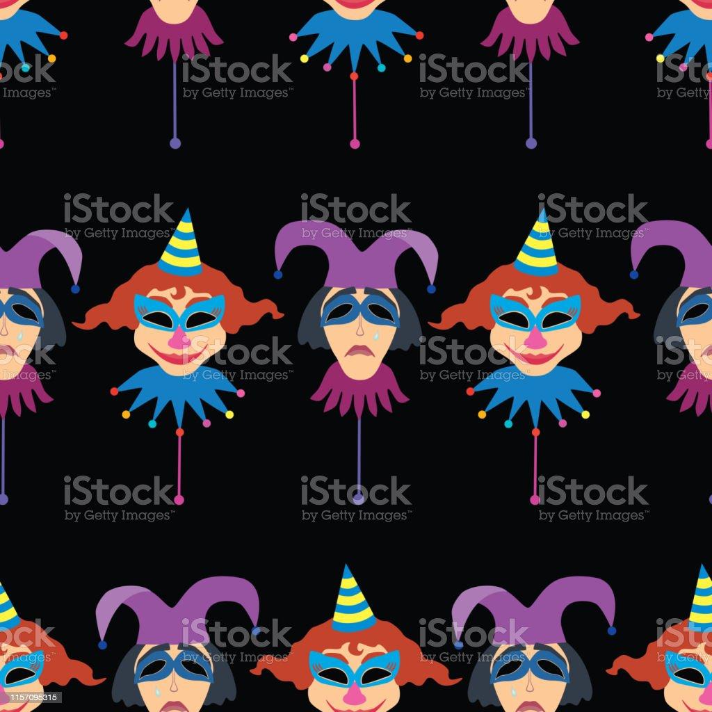 Vector pattern of cheerful and sad masquerade masks.