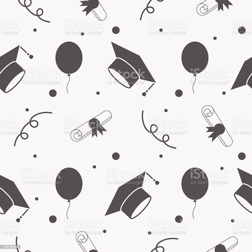 Fondo sin costuras de graduación tapas y de los Diplomas patrón - ilustración de arte vectorial