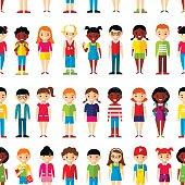 Seamless background with multicultural boys and girls in colorful style.
