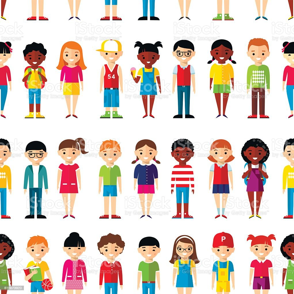 Seamless background of international set children. vector art illustration