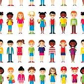Seamless background of international set children.