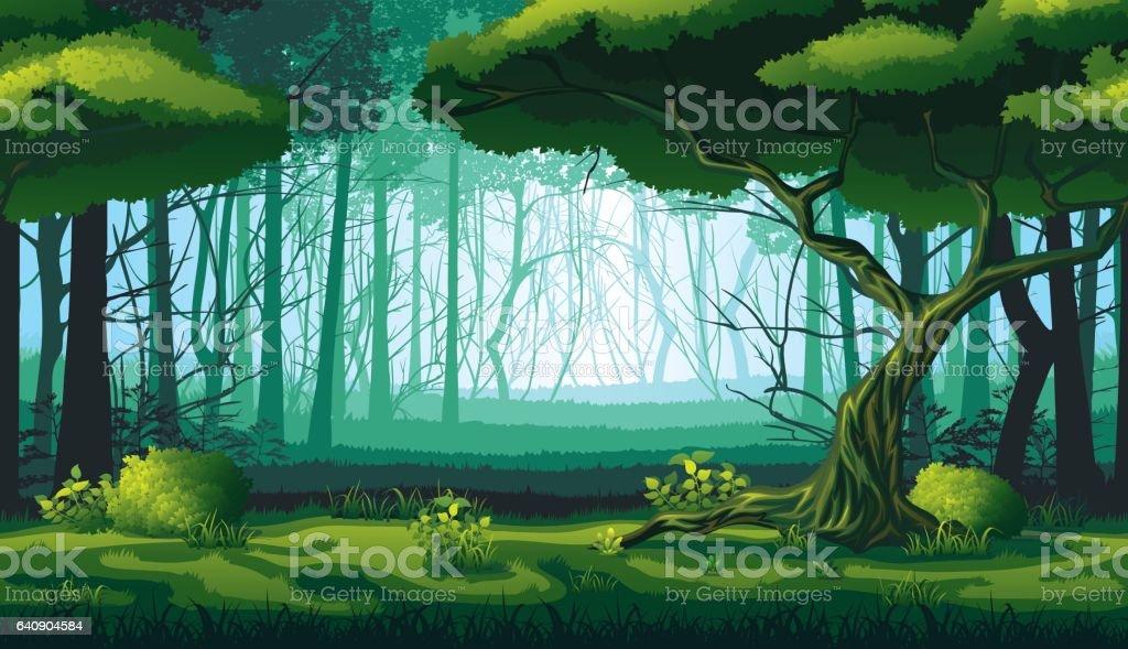 深い森のある風景のシームレスな背景は。 ベクターアートイラスト
