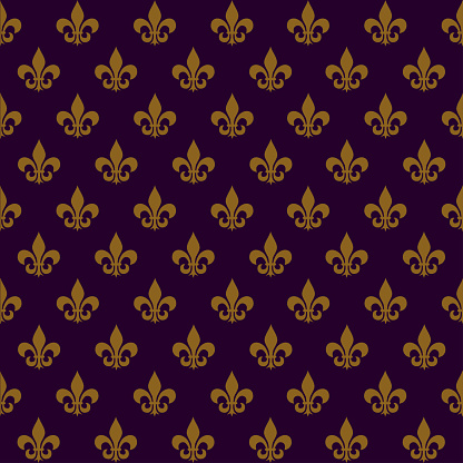 Seamless background of Mardi Gras. Yellow heraldic lilies in a checkerboard pattern on a dark purple background. A symbolic image of a flower.
