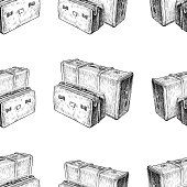 Vector pattern of sketches of vintage suitcases.
