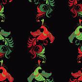Vector pattern of fabulous phoenix birds.
