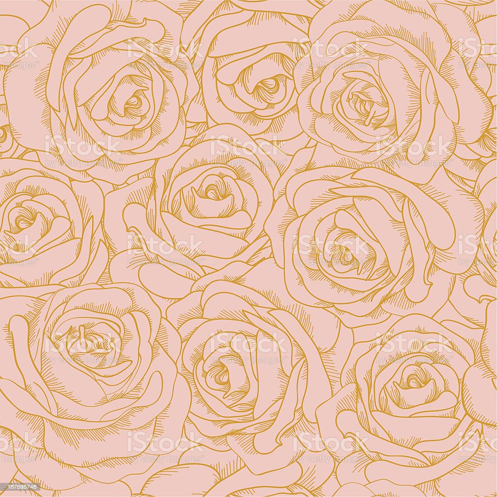 seamless background of pink roses with a gold outline royalty-free seamless background of pink roses with a gold outline stock vector art & more images of abstract